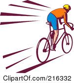 Royalty Free RF Clipart Illustration Of A Retro Cyclist Going Fast by patrimonio