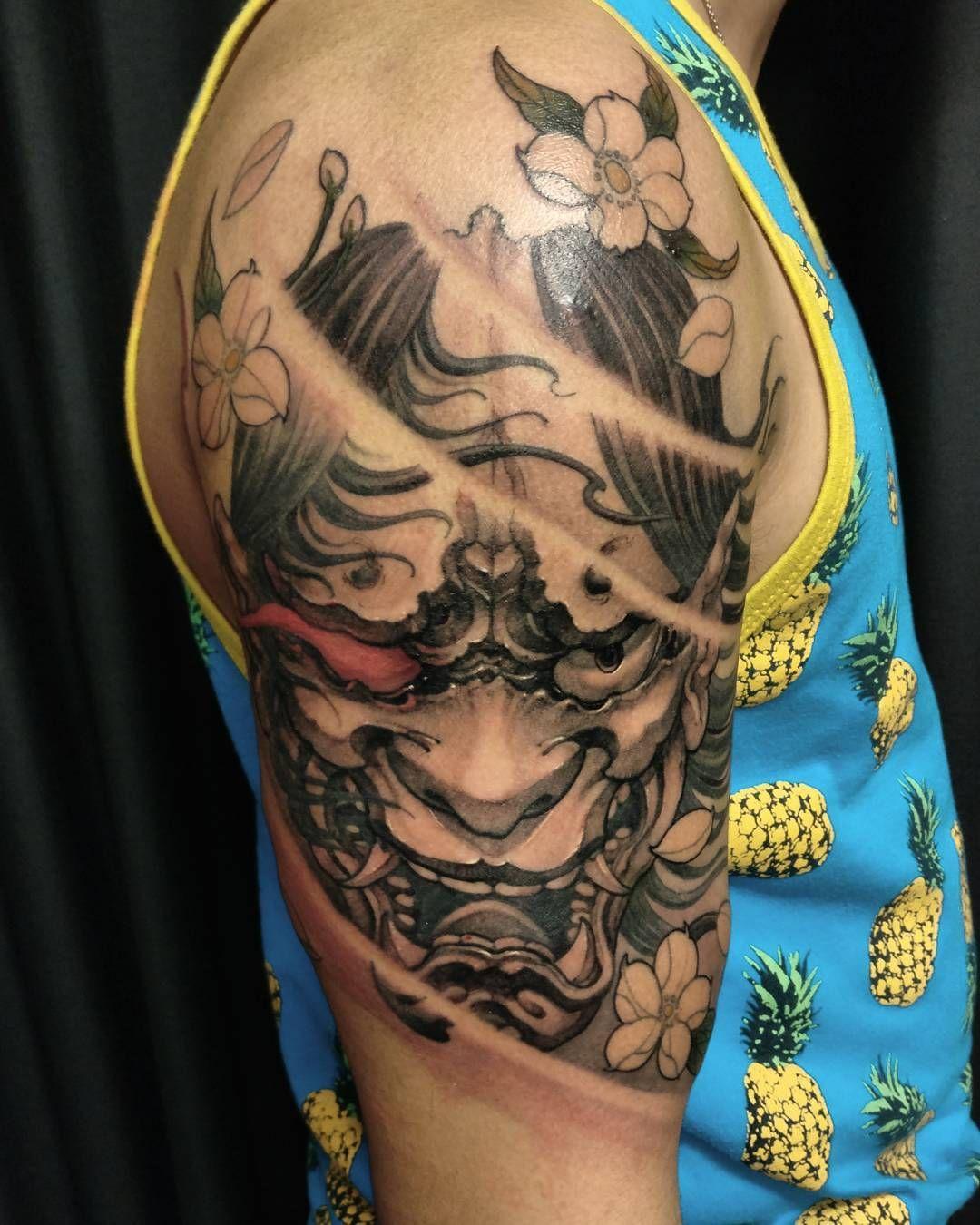 Hannya completed Tattoo ไอเดียรอยสัก, รอยสักแขน, รอยสักบนแขน