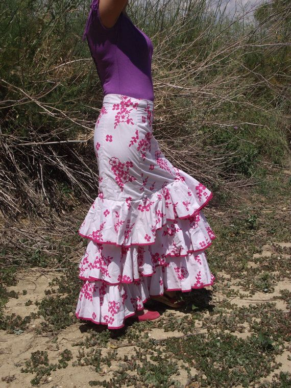 White and Deep Pink Spanish Flamenco Skirt Ruffle Skirt Gypsy Skirt Vintage Handmade Skirt Costume Flower skirt