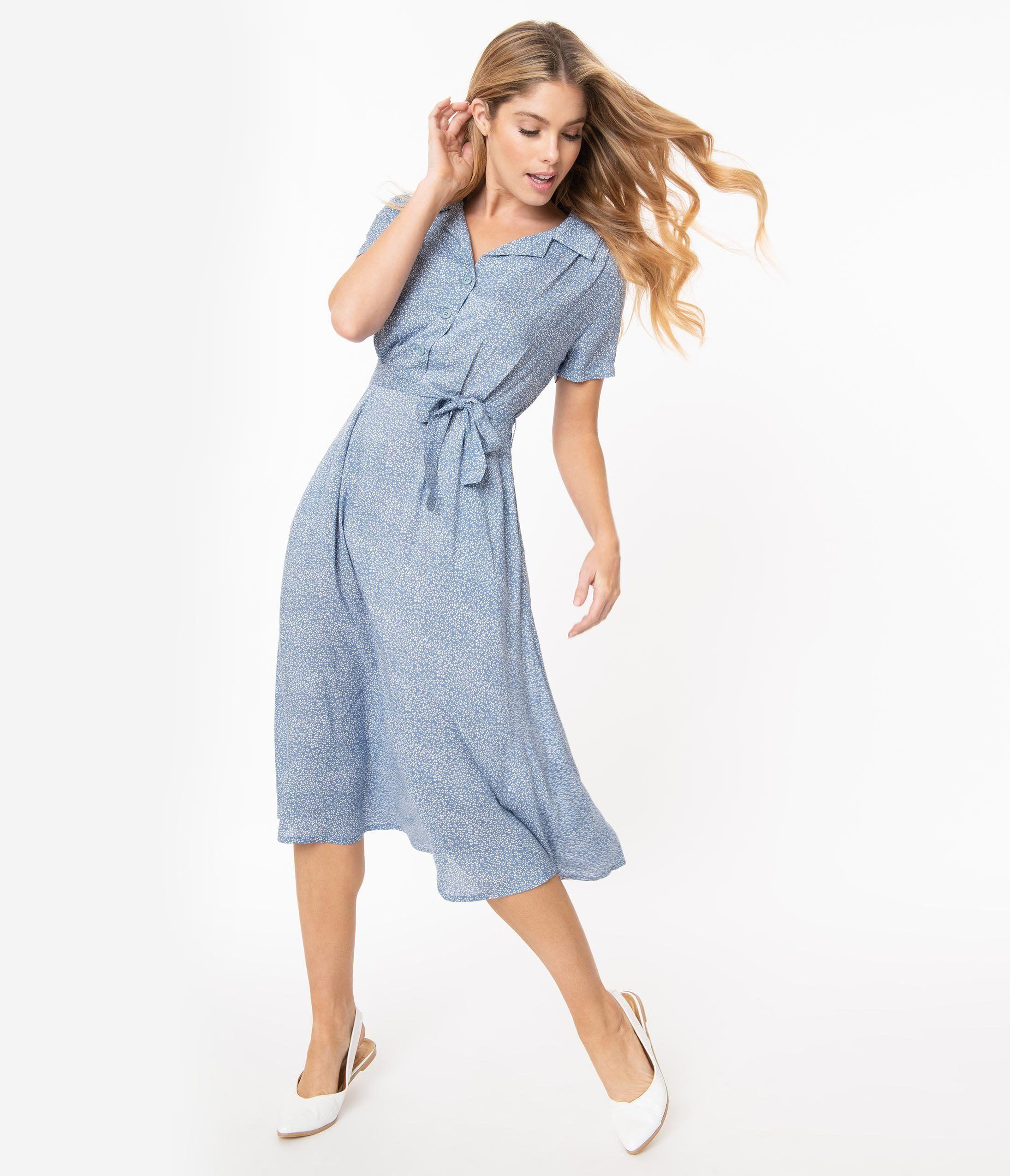 500 Vintage Style Dresses For Sale Vintage Inspired Dresses Floral Print Midi Dress Blue Midi Dress Dusty Blue Dress [ 2550 x 2190 Pixel ]