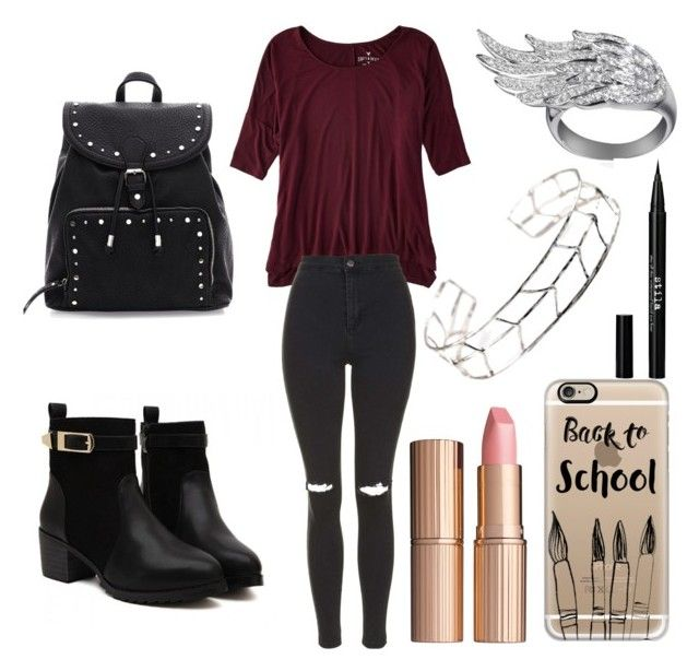 #BACKTOSCHOOL 1 DAY SCHOOL❤ by staystrong1240 on Polyvore featuring beauty, Charlotte Tilbury, Stila, Casetify, AS29, American Eagle Outfitters and Topshop