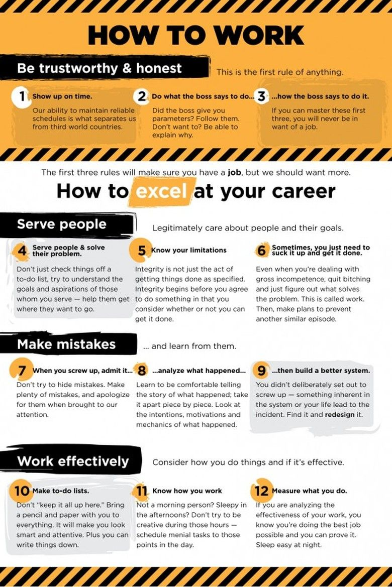 12 Rules for Being Awesome at Your Job - Resume writing services, Work infographic, Job advice, Career planning, Work skills, Work success - This year, make it your mission to follow these guidelines—and prepare for career success