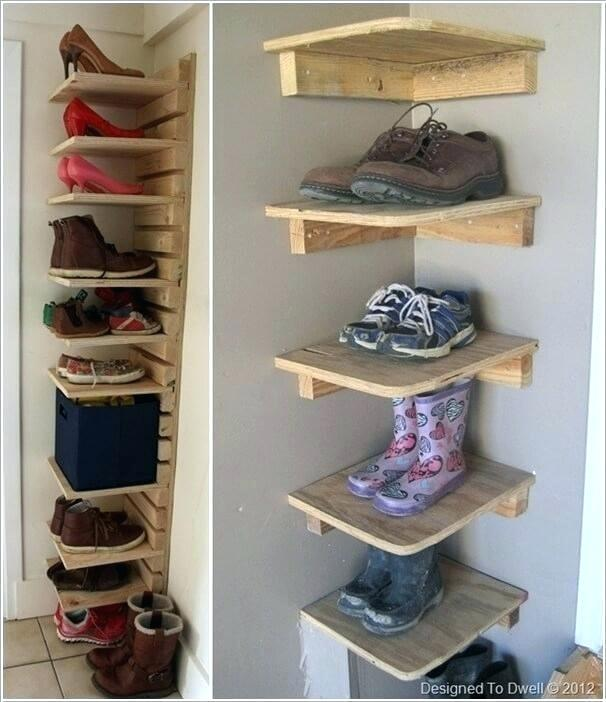 Shoe Organizer Ideas For Small Closet Build Corner Shoe Shelves In