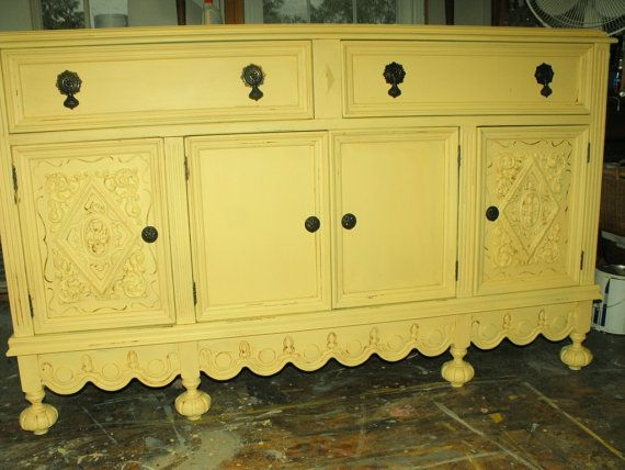 Gorgeous All Wood Vintage Buffet Made By The Abernathy Furniture Company This Piece Has Been Painted In A Soft Creamy Yellow Finished With Clear And