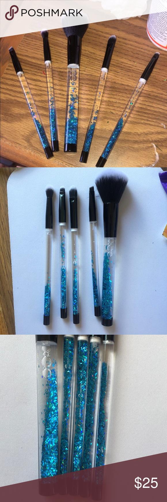 Customized 5 piece liquid glitter makeup brush set ...