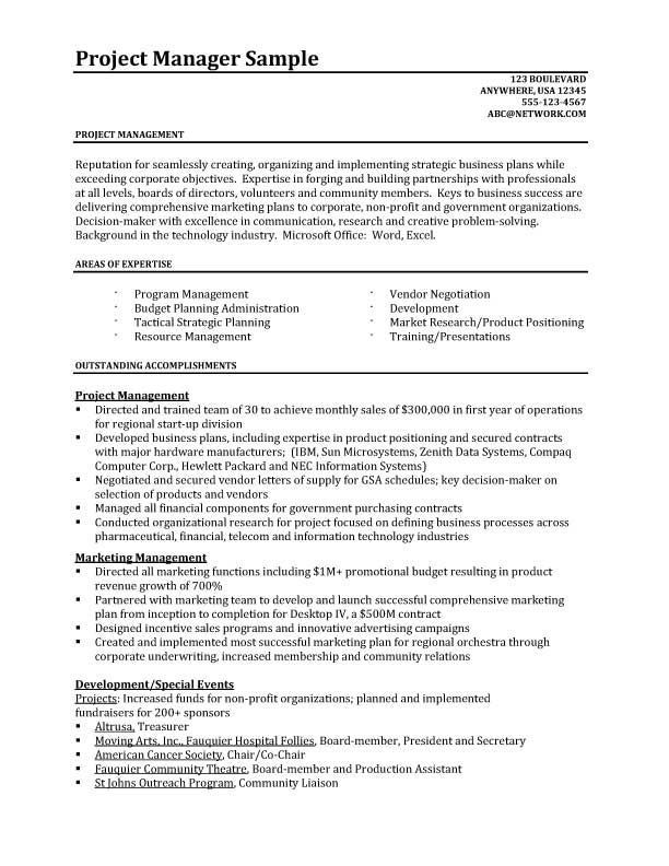 Project Manager Pinterest Project manager resume, Resume