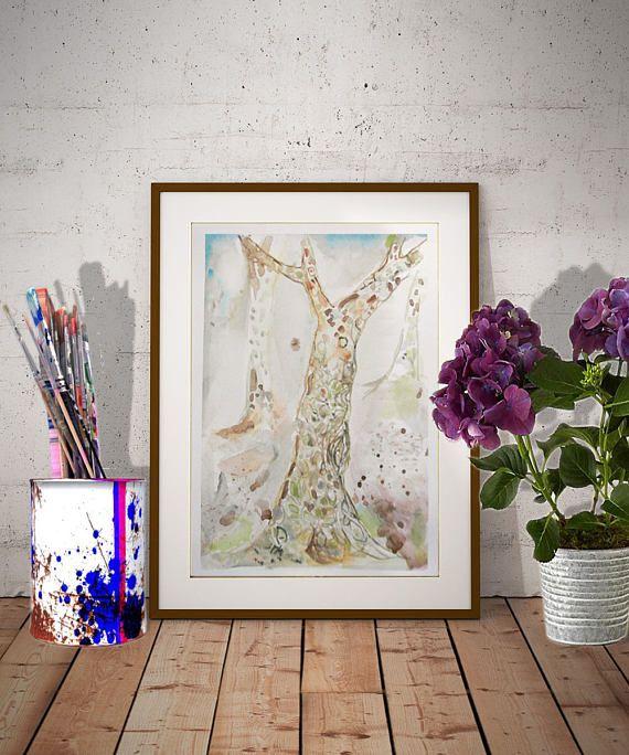 Baum Wandkunst, Wand, Malerei Bäume, Paris Art, Frau Porträt, Stadt Kunst,  Rosa Mode, Kunst Natur, Porträt Gemälde