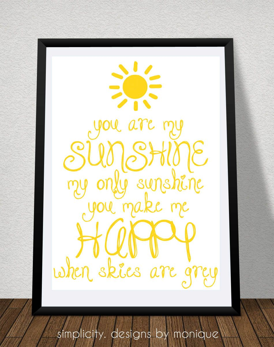 You are My Sunshine Printable - pink frame - party decor ideas for ...