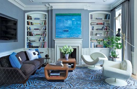 New York Blue Living Room Urban Eclectic Modern Plus Traditional
