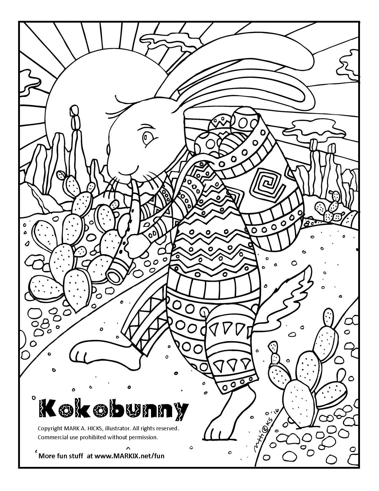 Bunny Kokopelli Coloring Page Here Is A Coloring Page For Adults And Other Big Children Featu Bunny Coloring Pages Easter Bunny Colouring Easter Coloring Pages