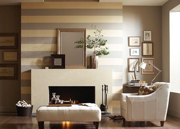 Stripes Painted On The Fireplace Wall In Two Warm Shades Of Taupe Create An Extra Layer Dimension And A Stunning Focal Point This Living Area