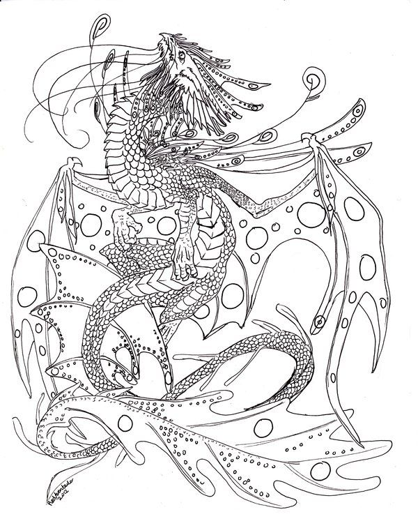 Water Dragon Colouring In Images