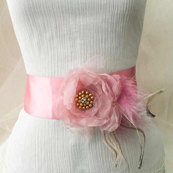 Bridal sash belt, Dusky pink sash belt, wedding dress sash, flower sash belt, pink flower sash, flower sash, pink flower belt