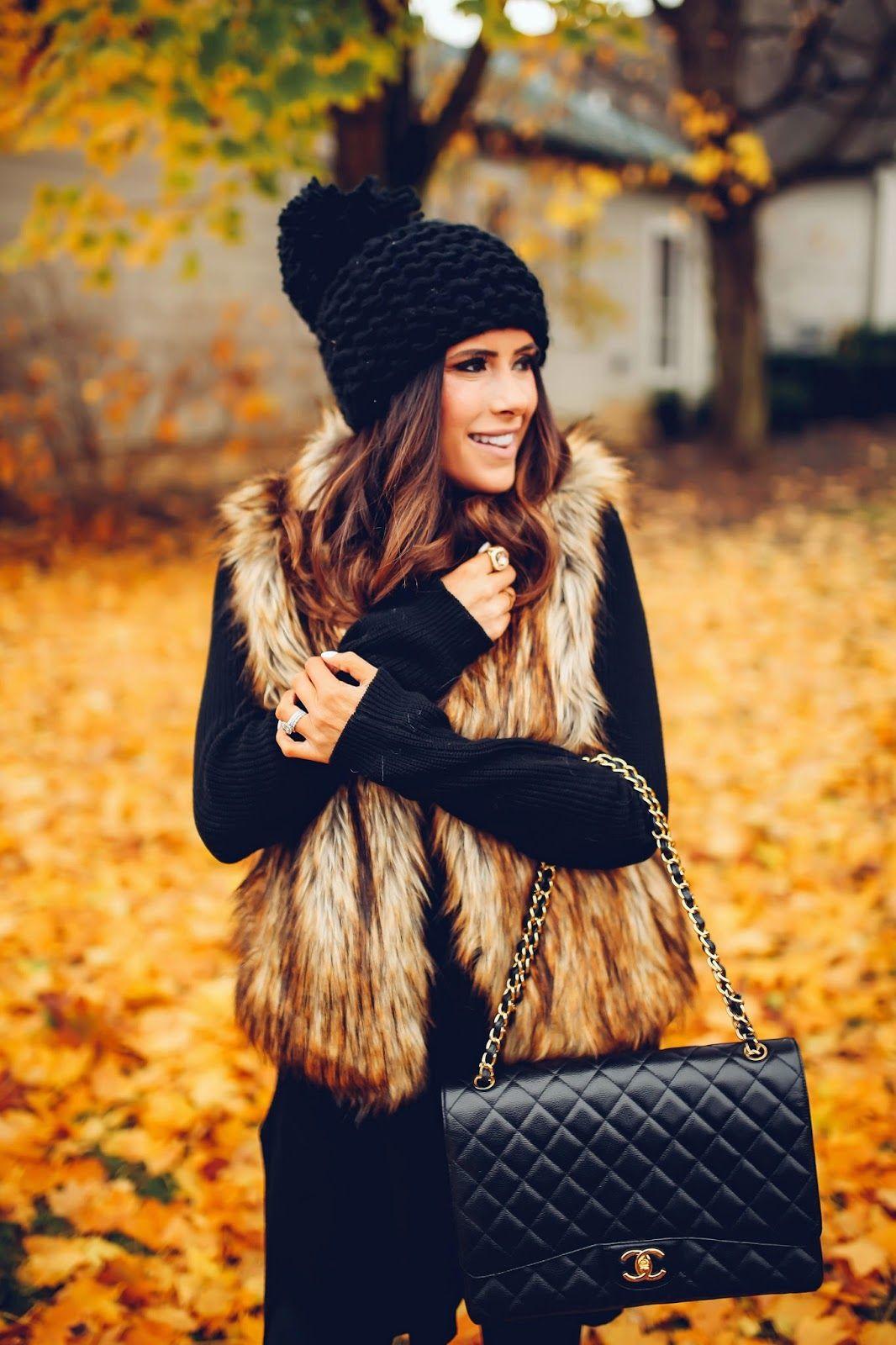 fb4c011831cc Black sweater dress, fur vest.. love all of the outfits on this girls blog  @emilyanngemma