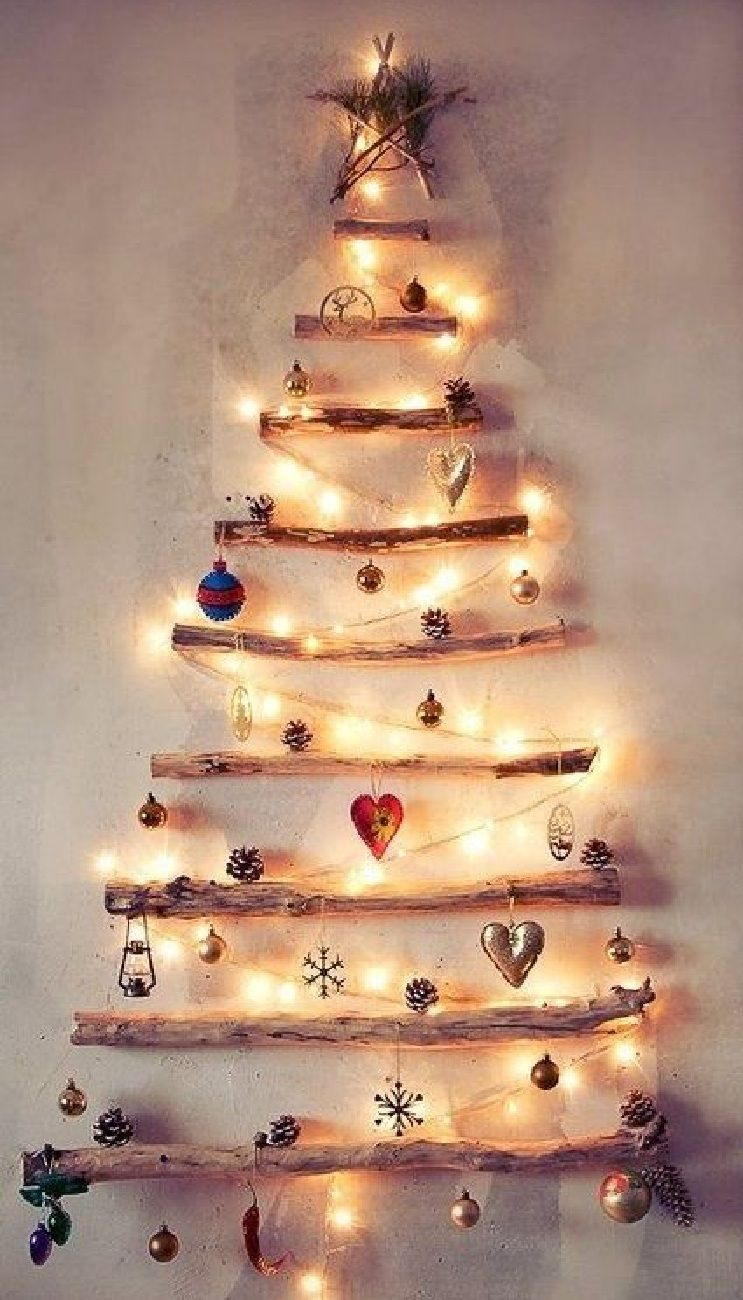 branch & white lights wall CHRISTmas tree | # repin too | Pinterest ...
