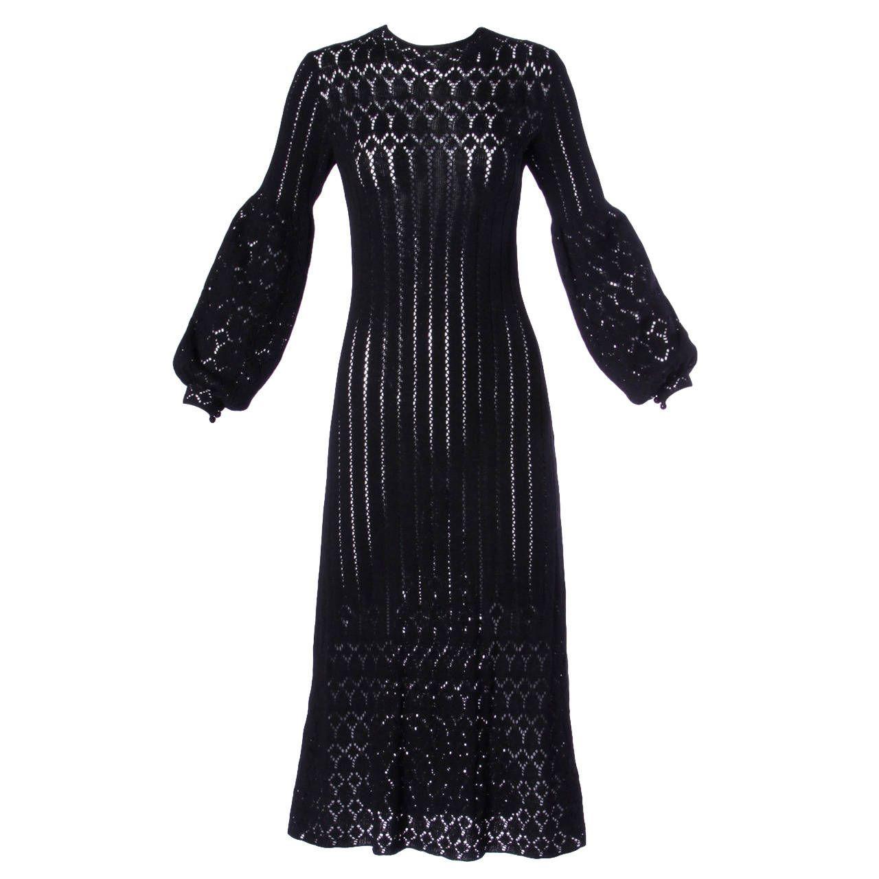 Adolfo Vintage 1970s 70s Black Crochet Lace Sheer Knit Dress Dresses Black Crochet Lace Fashion [ 1280 x 1280 Pixel ]
