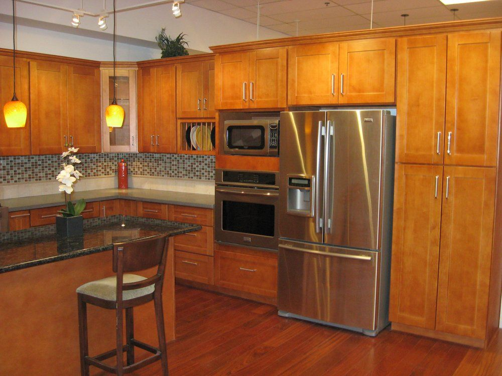 Maple Shaker Kitchen Cabinets our most popular cabinets: honey maple shaker style | yelp | ideas