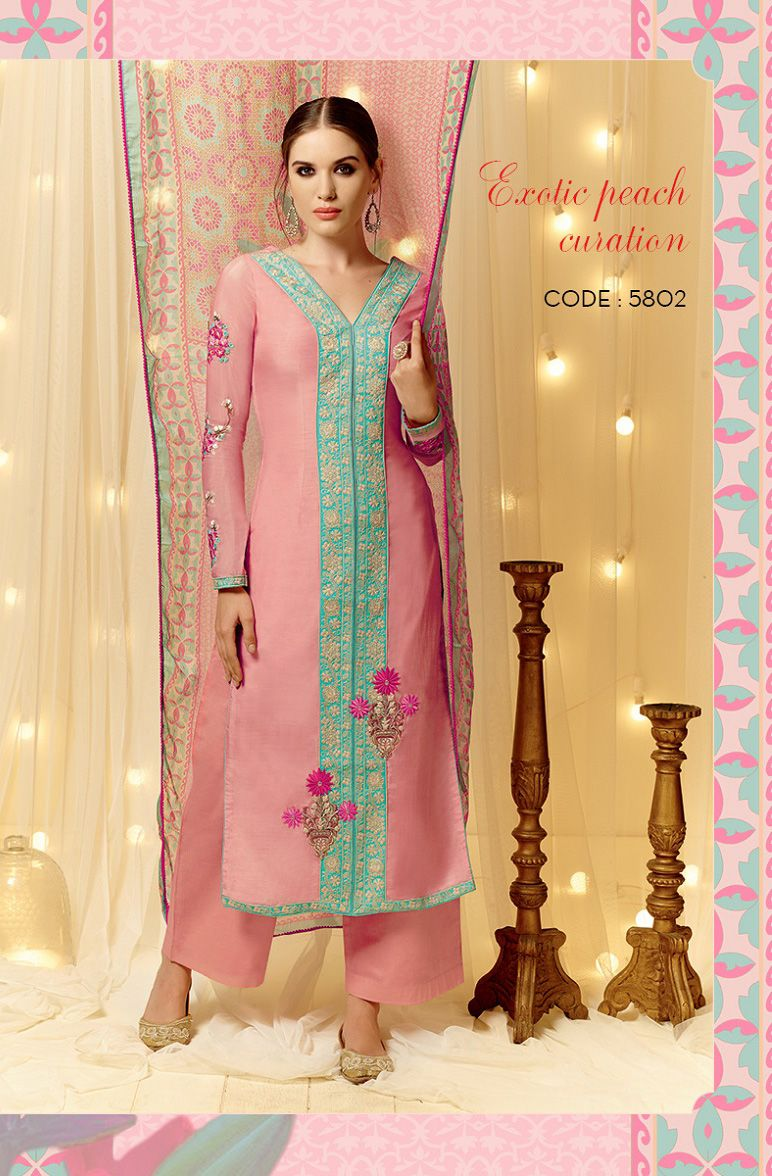 Dress code baby pink  Light Pink Cotton And Satin Pakistani Suit  malti kurti  Pinterest