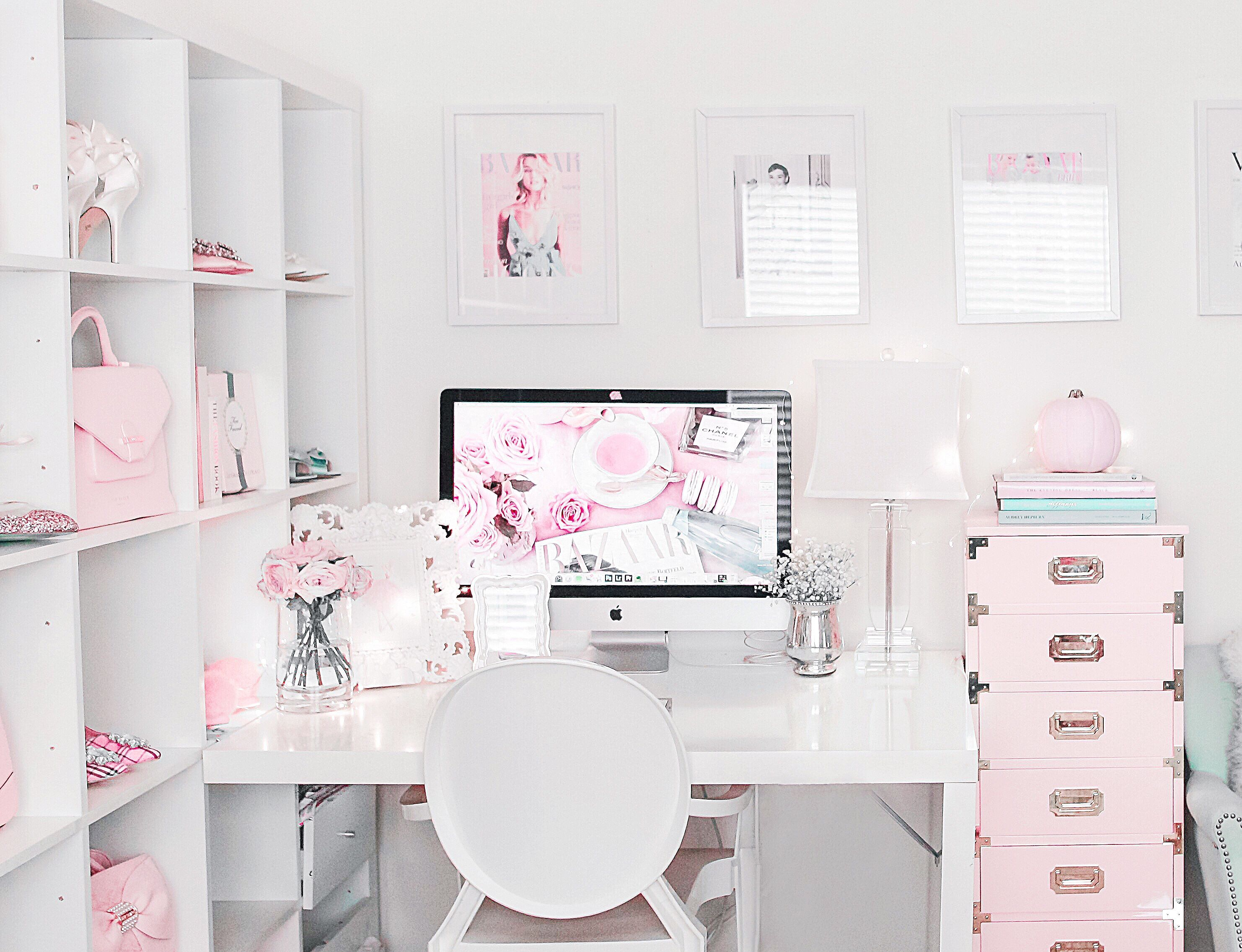 Glam Office Home Office Bamboo Desk Blogger Office Style Your Senses Officeroomdecor Office Room Decor Workspace Inspiration Home Office Design