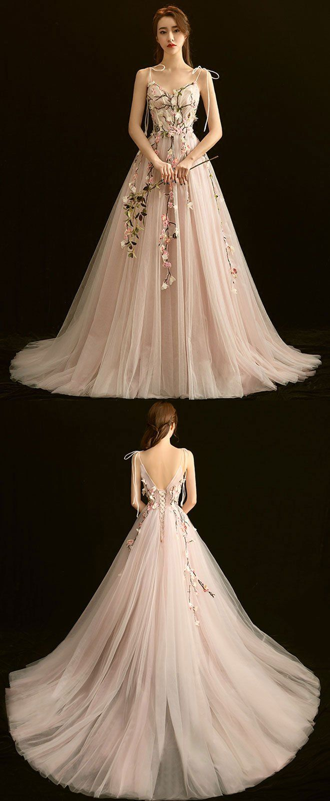 High quality v neck lace long prom dress light pink evening dress