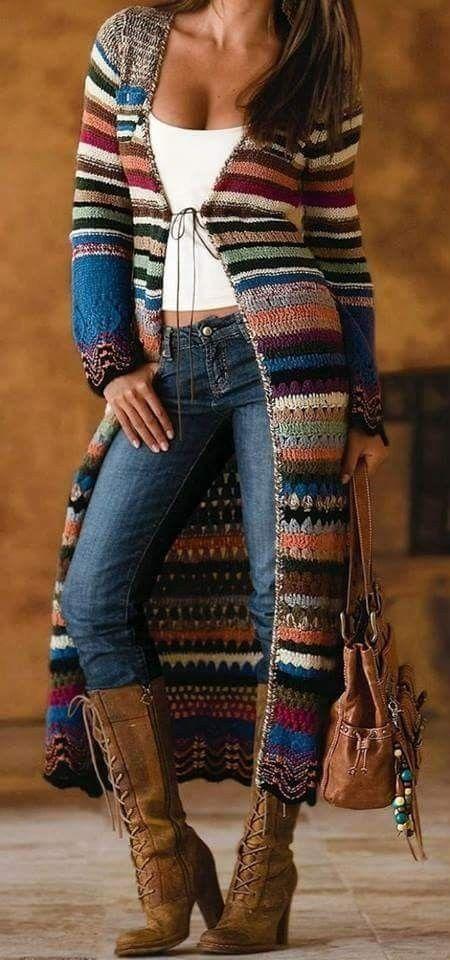 / gestrickter und gestrickter böhmischer Pullover Mantel / Boho-Stil / #crochetdressoutfits