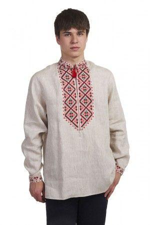 Вишиванка «Родосвіт» бежевого кольору – виконана з небіленого льону й  оздоблена традиційною вишивкою у 9023873c9e269