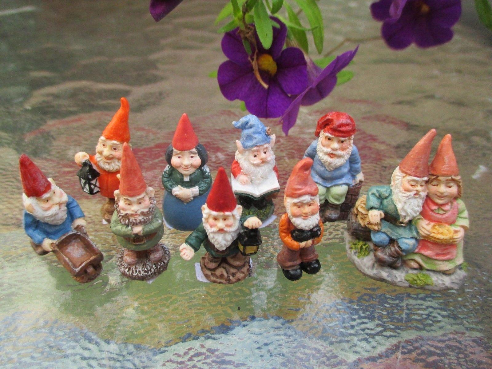 Dollhouse Miniatures Terrific Assortment Of Little Tiny Garden Gnomes 9 PC