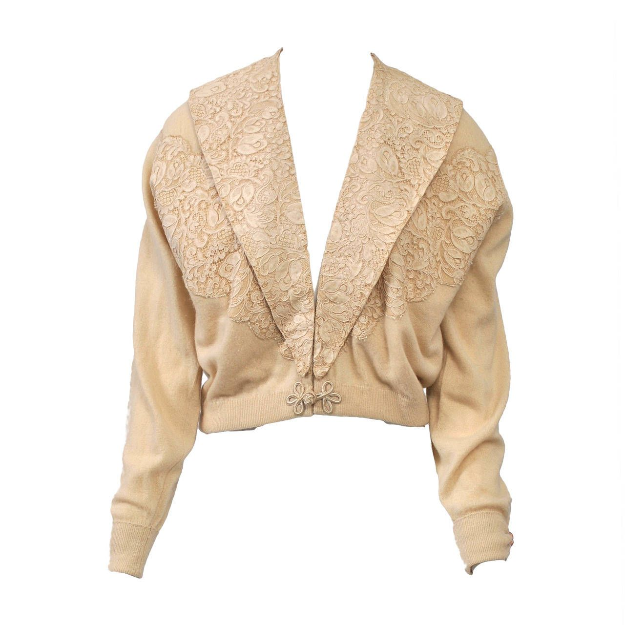 Beige Cashmere Cardigan with Lace | CASHMERE | Pinterest ...