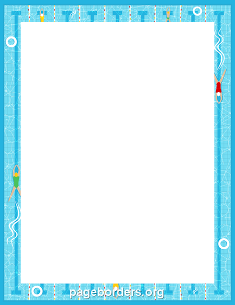 Printable swimming border. Use the border in Microsoft Word or other ...