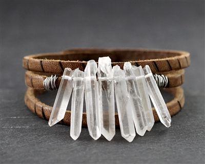 Leather Bracelet wQuartz Gem Stone