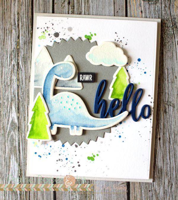 Prairie Paper & Ink: Rawr Hello Card | MFT Prehistoric Fun | Clean Color Real Brush Markers