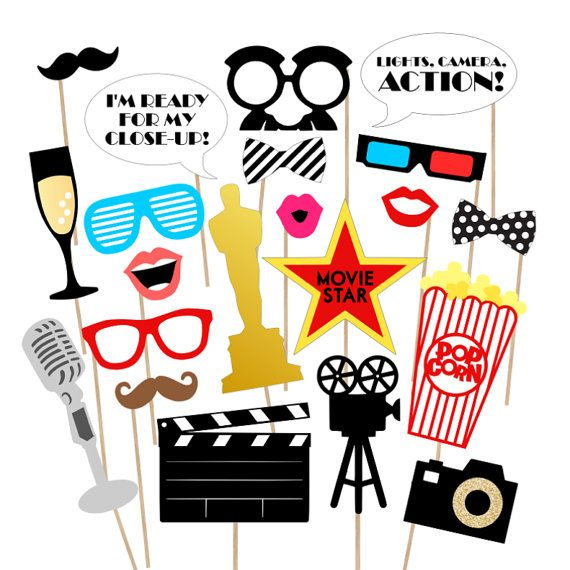 37 Movie Night Awards Printable Photo Props By