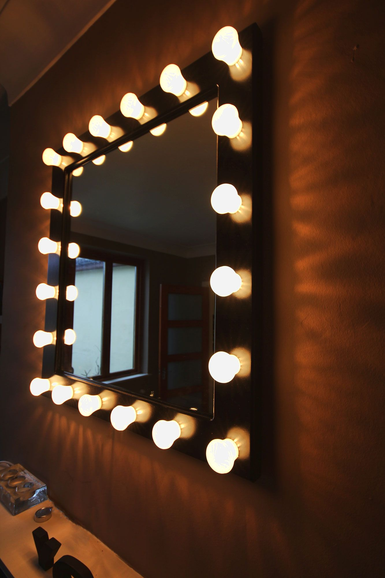 "'Backstage Dressing Room' type Mirror. 27.5"" high 25.5 ..."