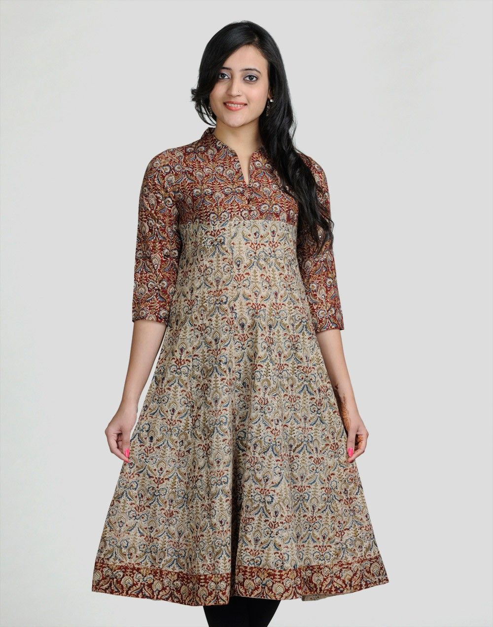 9c61197fc1 Cotton Kalamkari Anarkali Mirror Work Long Kurta | Clothes | Fashion ...