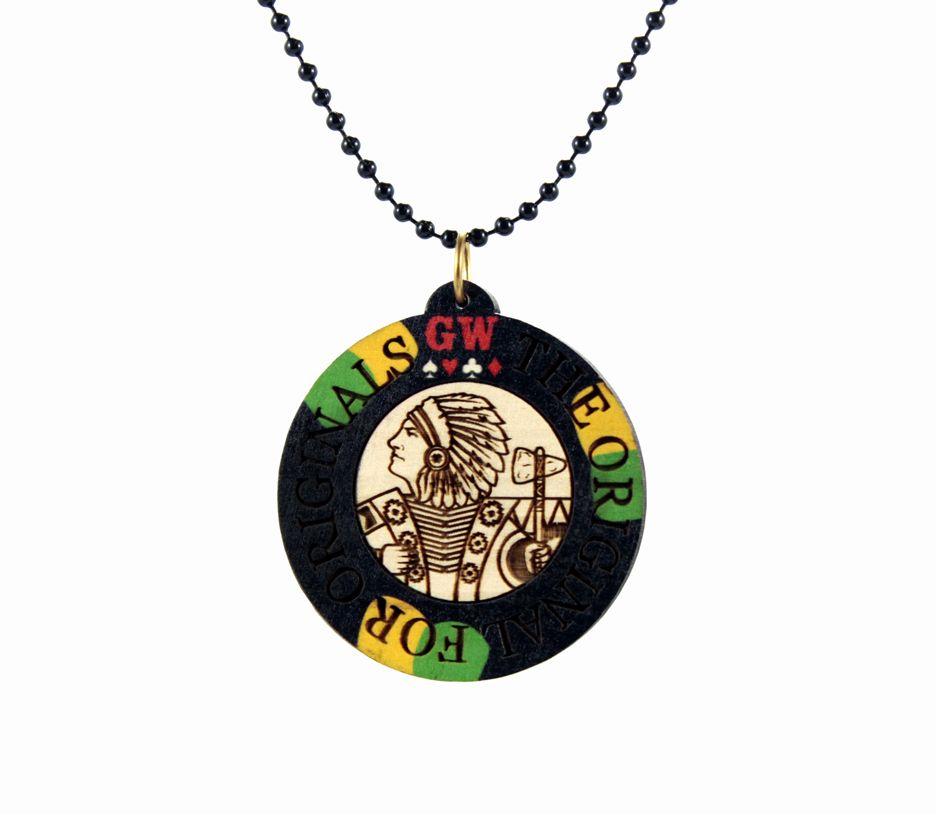 Poker Chip Necklace Black $32.00