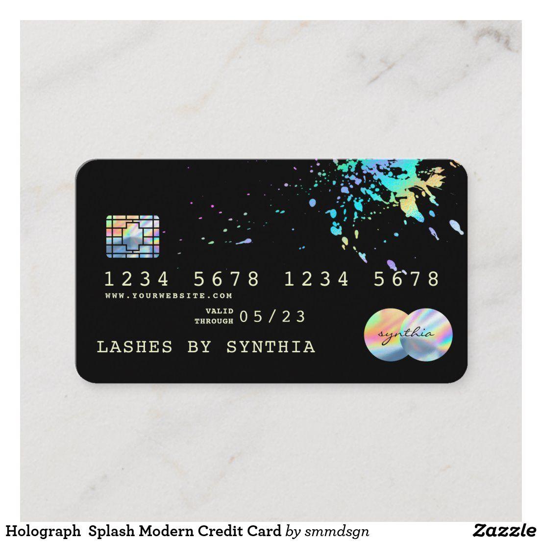 Holograph Splash Modern Credit Card Zazzle Com In 2020 Credit Card Cards Business Credit Cards