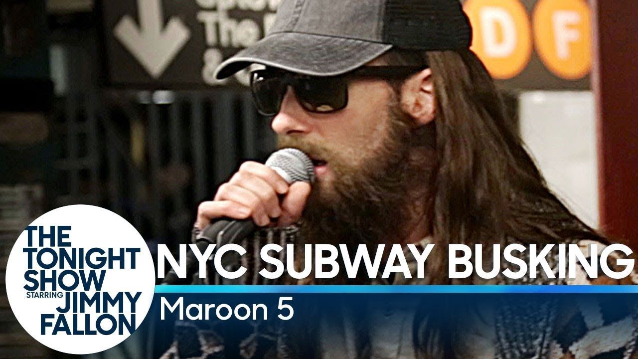 Maroon 5 Busks In Nyc Subway In Disguise Youtube Nyc Subway