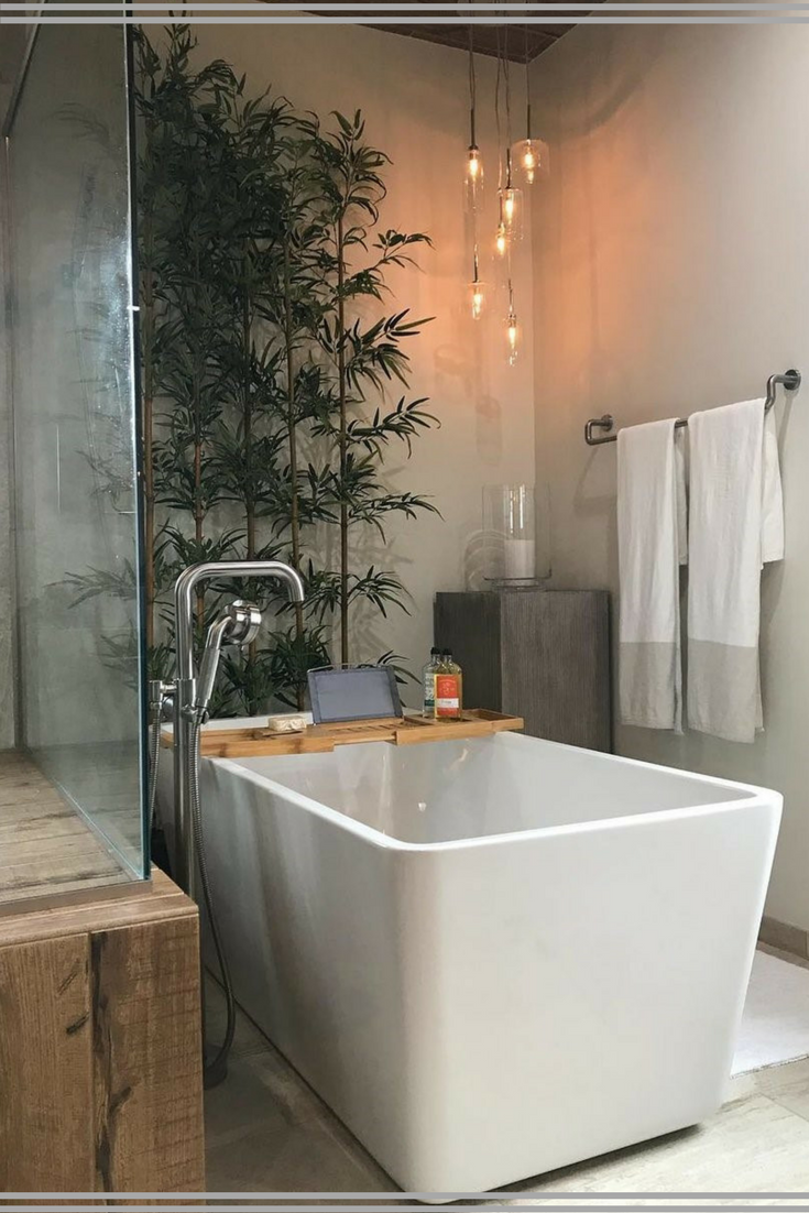 I M Loving These Bathroom Plants Windowless Bathrooms Rejoice I Love The Natural Wood Rectangl Modern Bathroom Design Bathroom Design Spa Style Bathroom