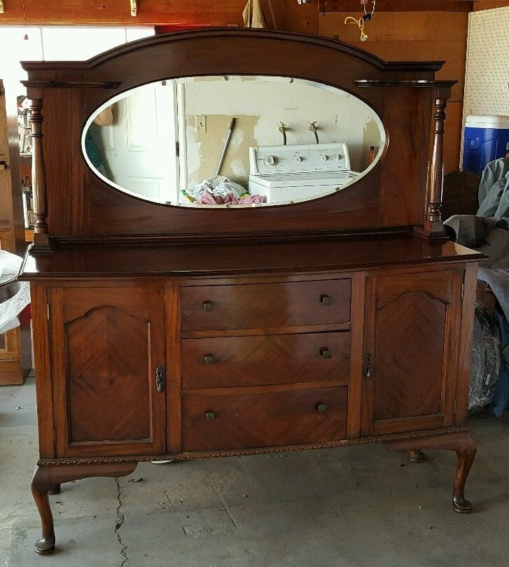 Antique Queen Anne Mirrorback Sideboard Server Buffet