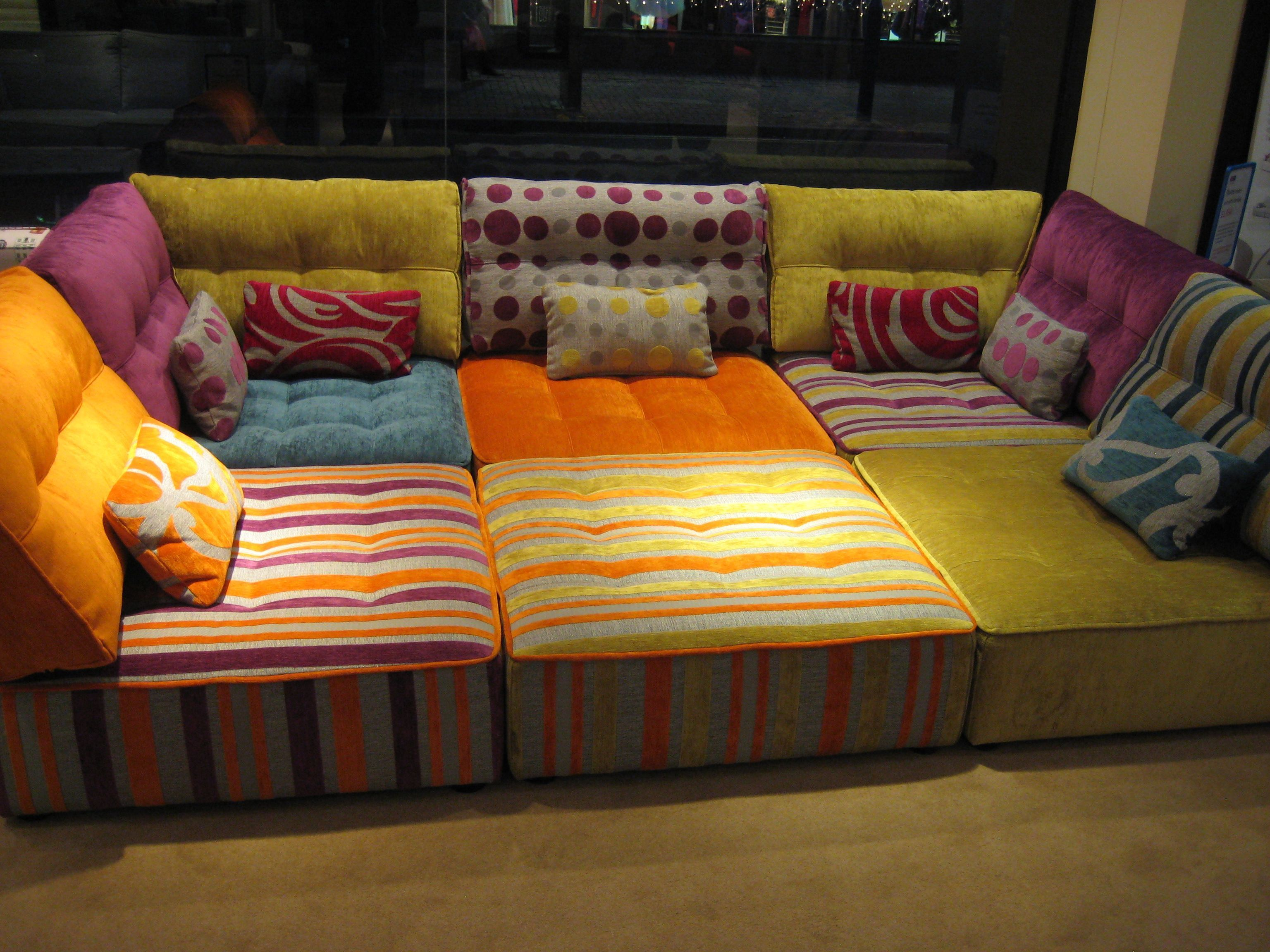 This Module Sofa Is Both Bright And Practical Your Kids Can Roll Around And Play In The Centre Whil Floor Couch Floor Seating Moroccan Floor Pillows