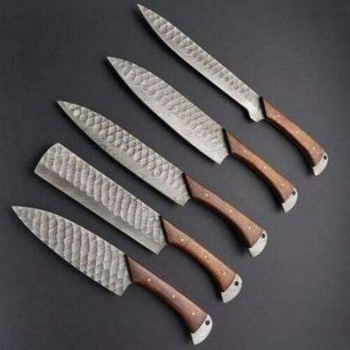 Handmade Damascus Steel Chef Knives Set With Leather Sheath Ebay Damascus Steel Chef Knife Damascus Kitchen Knives Chef Knife Set