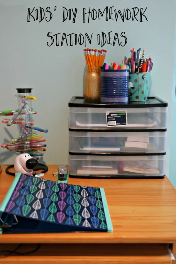 Kids' DIY Homework Station Ideas is part of School Organization Homework - Kids' DIY Homework Station Ideas  important for at home organization for your kids' school supplies, regardless of what grade they are in