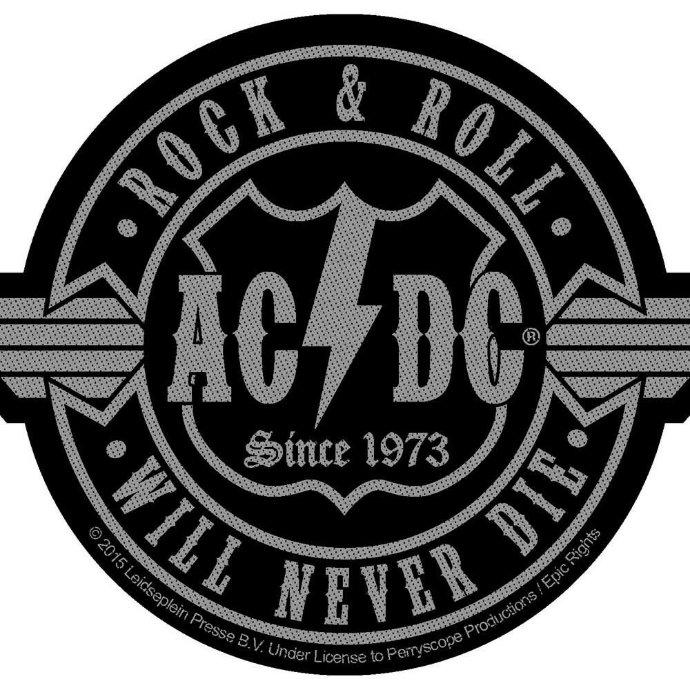 Ac dc rock roll will never die woven sew on patch cutout official band merch