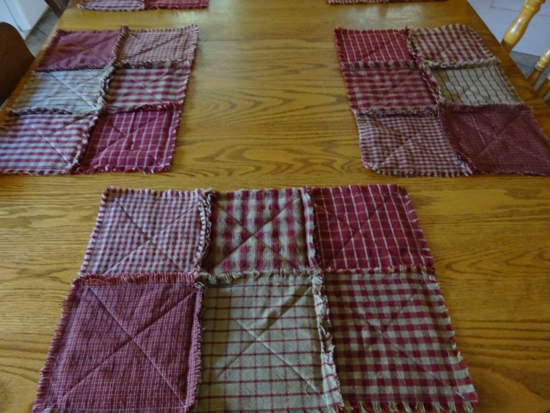Red Homespun Placemats, 6 Rag Quilt Placemats, Table Mats, Rag Patchwork  Placemats,