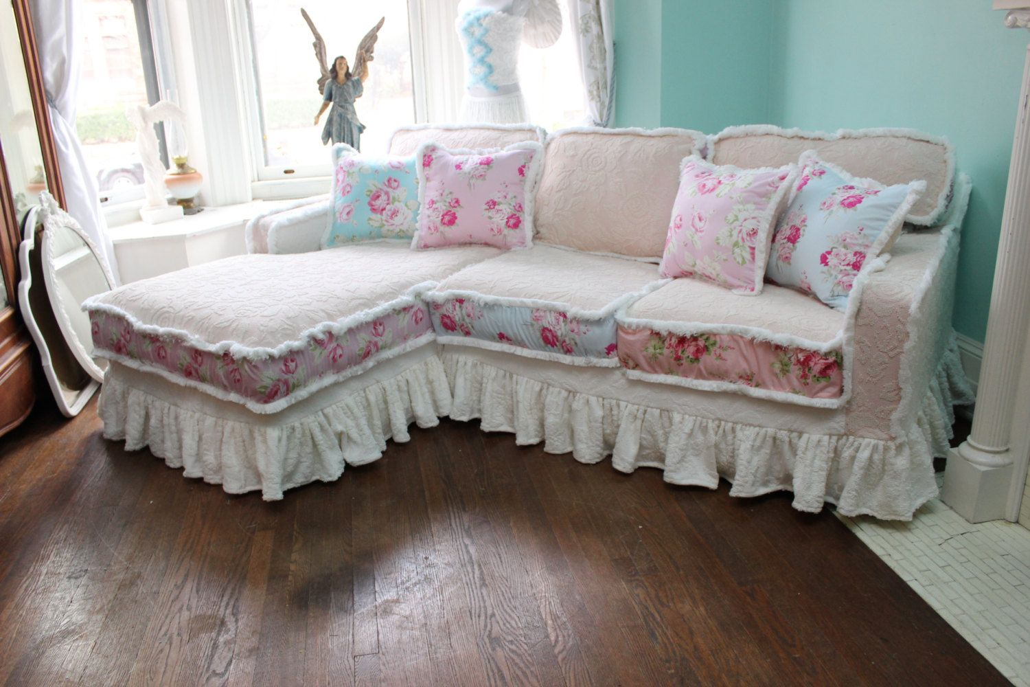 Superbe Shabby Chic Sectional Sofa Vintage Rose By VintageChicFurniture