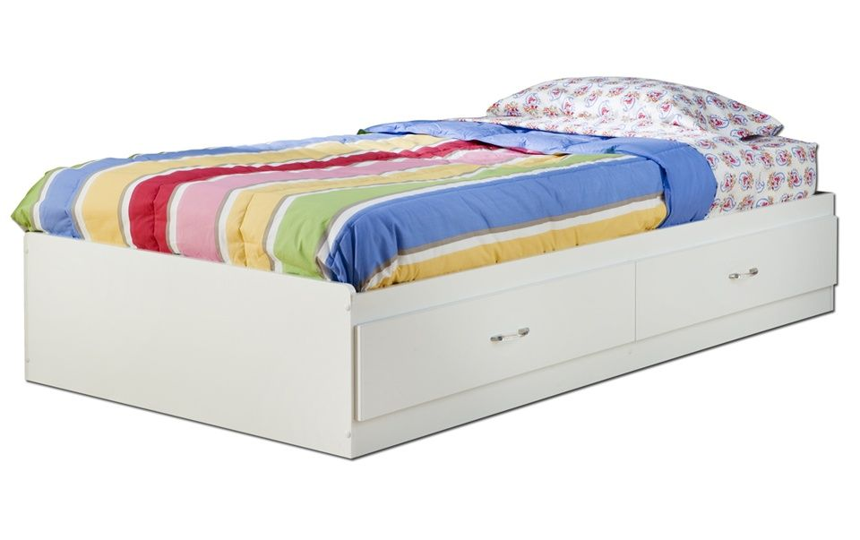 Twin Mates Bed In White Finish Space Savers Organization Bed