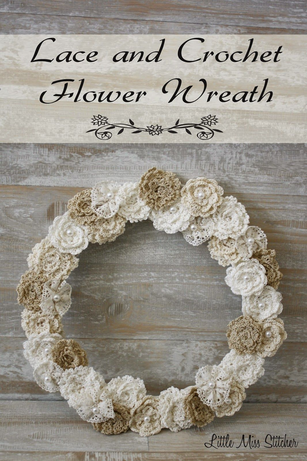 Photo of I have been anticipating sharing my lace and crochet flower wreath with you for …