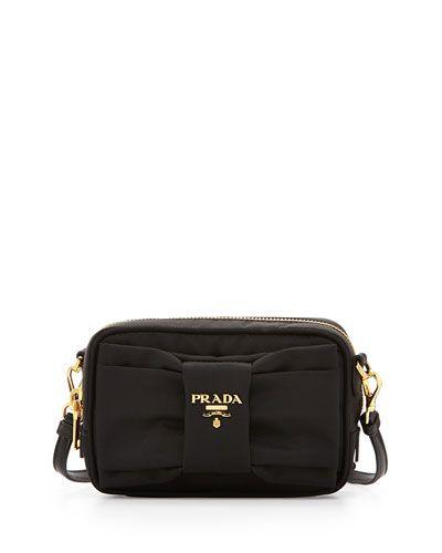 c8fb8c3f4e5f V2L30 Prada Nylon Bow Camera Bag, Black (Nero) | Arm Candy | Nylon ...