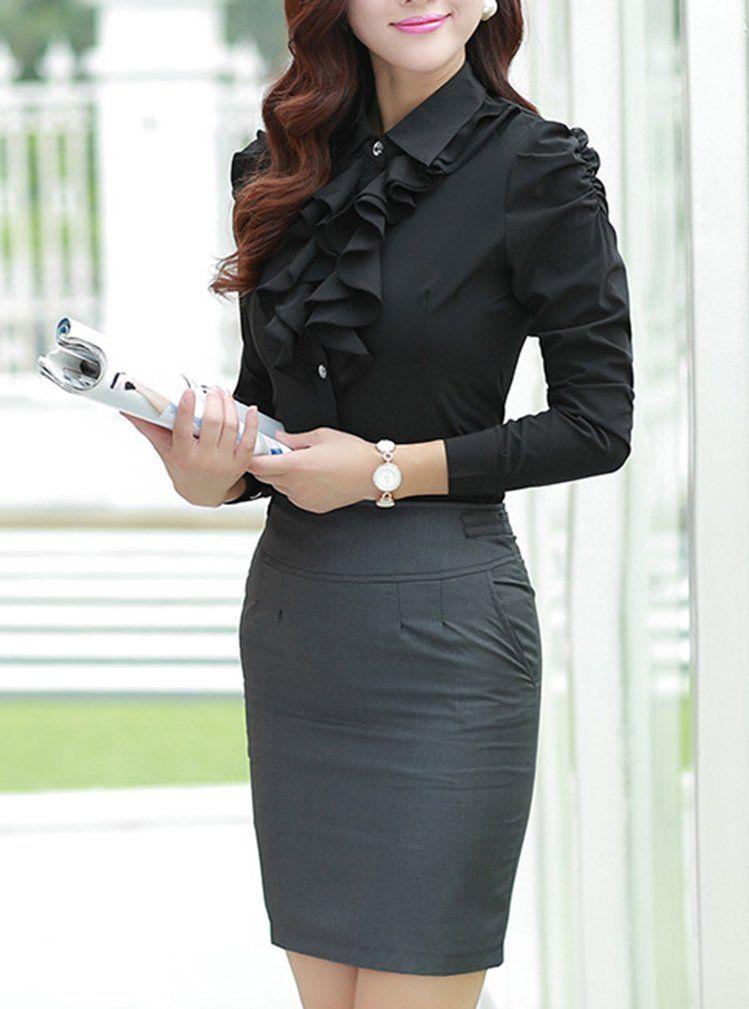Yasong Women Ladies Long Sleeve Formal Top Work Blouse Frill Ruffle Blouse  Black UK 6 b916d175a