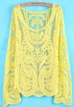 Yellow Long Sleeve Hollow Crochet Lace Blouse